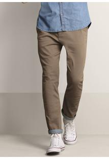 Calça Masculina Slim Em Sarja De Algodão Com Cinto