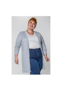 Kaue Plus Size Cardigan Alongado Plus Size Cinza Cardigan Alongado Plus Size Cinza Ex