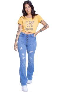 Calça Jeans Flare Destroyed Le Julie Azul