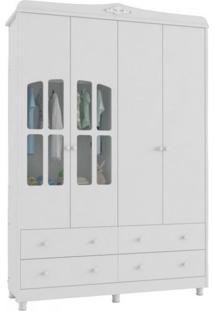 Guarda Roupa Infantil 4 Gavetas 4 Portas Com Vidro Elô Móveis Peroba Branco Brilho