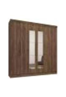 Guarda Roupa Casal 06 Portas Com Espelho Luna 798 Ebano Rustico Qmovi