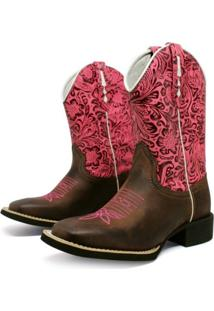 Bota Texana Feminina Cafe Com Bordado Pink