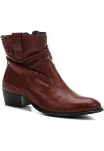 Bota Slouch Shoestock Couro Cano Curto Feminina - Feminino-Marrom