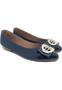Sapatilhas Sapatilha Nobuck Bico Fino Verniz Laço Todo Glamour Feminina - Feminino-Azul