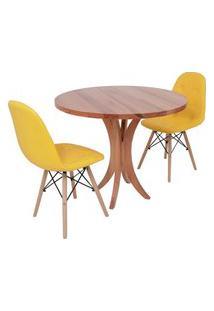 Conjunto Mesa De Jantar Tampo De Madeira 90Cm Com 2 Cadeiras Botonê - Amarelo