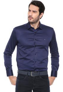 Camisa Aramis Slim Lisa Azul-Marinho