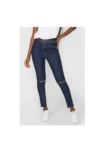 Calça Jeans Lança Perfume Skinny Rasgos Azul-Marinho