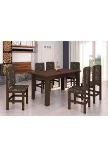 Conjunto De Mesa Com 6 Cadeiras Sirius Tabaco E Floral Escuro