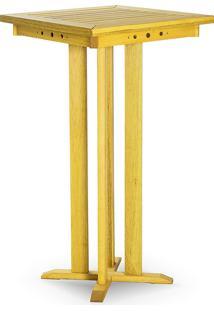 Mesa Gourmet Alta Bistro De Madeira Linha Bar Stain Amarelo - 60,5X60,5X110 Cm