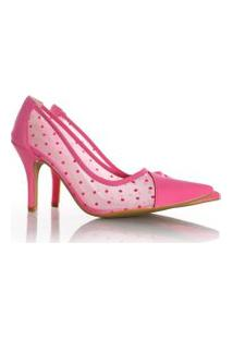 Sapato Scarpin Leandra Em Tule Transparente Pink Nobuck