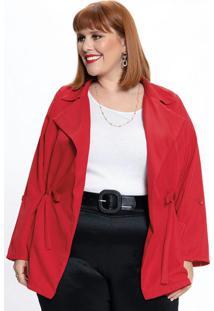 Parka Plus Size Com Amarração Vermelha