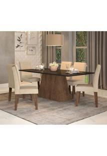 Conjunto De Mesa De Jantar Com 6 Cadeiras Estofadas Bianca Suede Preto E Bege