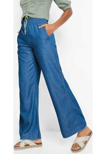 Calça Sarja Pantalona Azul Médio