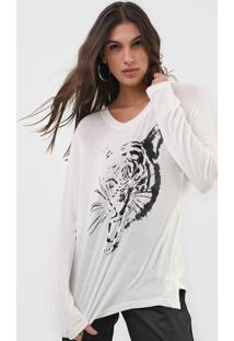 Blusa Ellus Tiger Glow Off-White - Off White - Feminino - Viscose - Dafiti