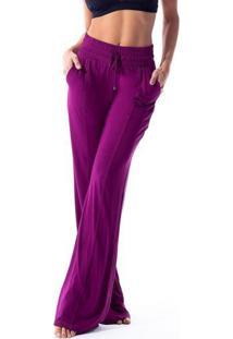 Calça Pantalona Em Lycra®- Malva- Vestemvestem