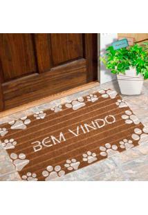 Capacho Carpet Bem Vindo Com Patinhas Brancas Marrom