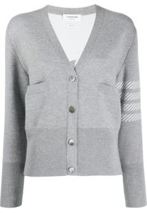 Thom Browne Cardigan 4-Bar Com Bordado Dolphin - Cinza