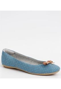 Sapatilha Moleca Jeans Bolinhas Feminina - Feminino-Azul Claro