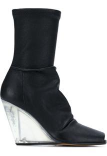 Rick Owens Ankle Boot De Couro - Preto