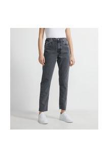 Calça Mom Jeans Com Elástico No Cós E Barra Cortada A Fio | Blue Steel | Preto | 40