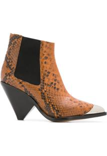 Isabel Marant Étoile Snake-Effect Ankle Boots - Marrom