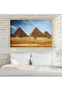 Quadro Love Decor Com Moldura Pirâmides De Gizé Madeira Clara Grande