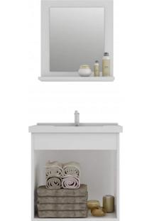 Gabinete Para Banheiro Com Cuba E Espelheira 1 Porta 1 Prateleira Íris Mgm Móveis Off White/Ypê/Marrom