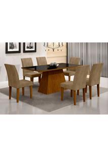 Conjunto De Mesa De Jantar Luna I Com Vidro E 6 Cadeiras Grécia Animalle Imbuia E Chocolate