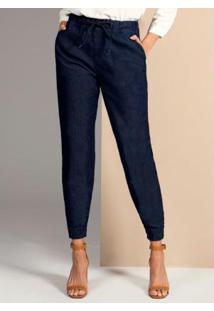Calça Jeans Escuro Com Elástico Na Cintura