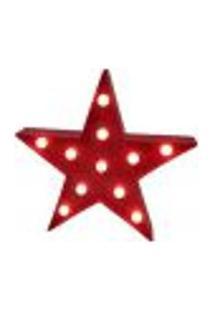 Luminária Led Abajur Luz Modelo Diversos Estrela Vermelho