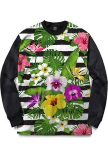 Blusa Bsc Stripe Flowered Full Print - Masculino