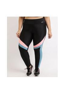 Calça Legging Feminina Plus Size Esportiva Ace Cintura Alta Color Block Preta