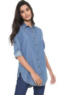 Camisa Jeans Redley Boyfriend Azul