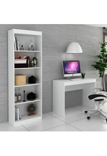 Escrivaninha E Estante Para Escritório-Ho-2951-Hecol - Branco