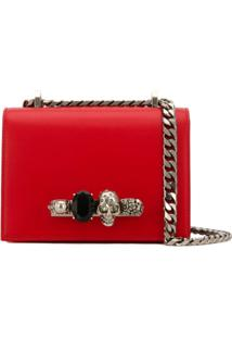 Alexander Mcqueen Small Jewelled Satchel Bag - Vermelho