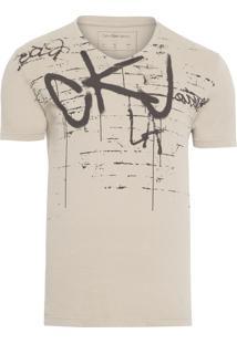Camiseta Masculina Manga Curta Estampa Pixado - Bege