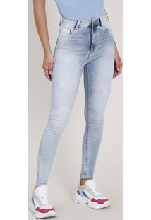 Calça Jeans Feminina Sawary Skinny Push Up Cintura Alta Azul Claro