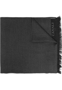 Canali Cachecol De Lã Com Logo Bordado - Preto