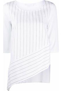 Stagni 47 Blusa Assimétrica Com Recortes De Listras - Branco