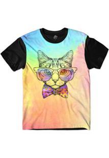 Camiseta Bsc Animais Hipster Gato Magro Sublimada - Masculino-Rosa