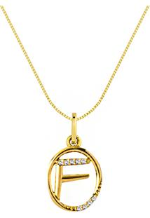 Pingente Letra F Ouro Amarelo E Diamantes