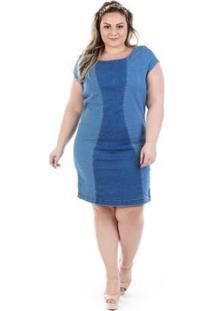 c380fa62e ... Vestido Jeans Manga Confidencial Extra Curta Vinil Plus Size Feminino -  Feminino-Azul