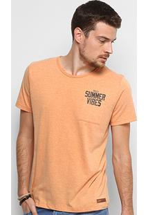 Camiseta Colcci Summer Vibes Com Bolso Masculina - Masculino-Laranja