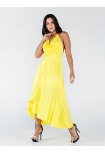 Vestido Longo Frente Única Com Alça De Corrente - Feminino-Amarelo