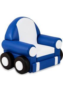 Puff Car Azul E Branco