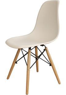 Cadeira Em Polipropileno Com Pés De Madeira 82X47Cm Branca