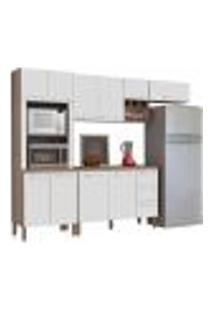 Cozinha Compacta Ametista Com Balcão 10 Portas Composição 7 Nogal/Branco - Kit'S Paraná