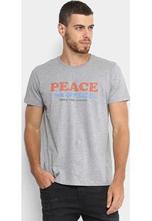 Camiseta Colcci Estampa Peace Masculina - Masculino-Cinza+Laranja