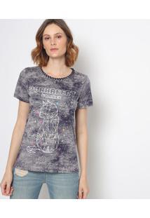 "Camiseta ""Purrrfect"" - Cinza & Azul Marinho - Sommersommer"