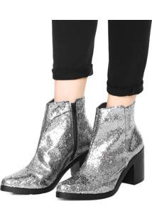 Bota Dafiti Shoes Cano Médio Glitter Prata